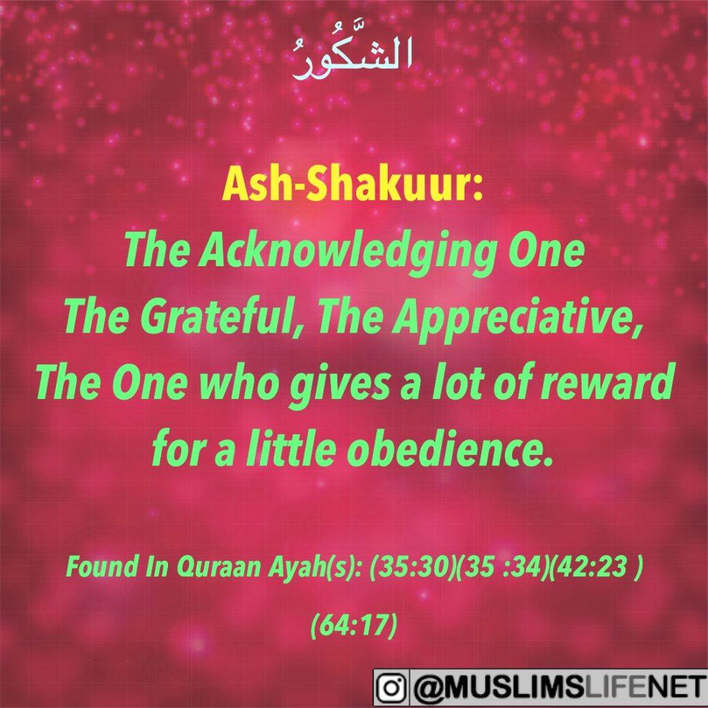 99 Names of Allah - Ash Shakuur